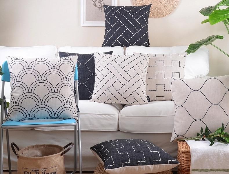 Scandinavian decorative cushion covers Black White Throw Pillows Geometric Pillowcase Stripes Linen Pillowcase For Sofa 45x45cm