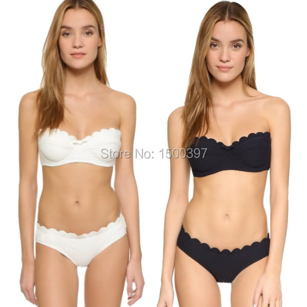 2017 forma a dente di sega nero push up bikini delle donne, bianco ...