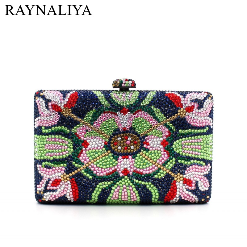 Multi-color Mini Bags With Black Luxury Women Shoulder Bag Wedding Party Purses And Handbags Crystal Evening Clutch SMYZH-E0329 luxury crystal women wedding clutch handbag evening bag floral beading party purses new designer smyzh e0271