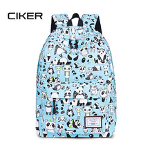 CIKER Canvas Backpack Cute Women Panda Printing Backpacks for Teenagers Girls Women's Travel Bags Mochilas Rucksack School Bags(China)