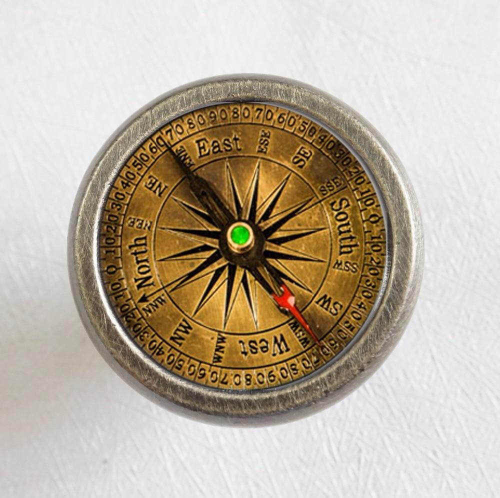 Vintage Compass Drawer Knobs Bronze Copper Silver  Crystal Dresser Knobs Cabinet Handles Pull