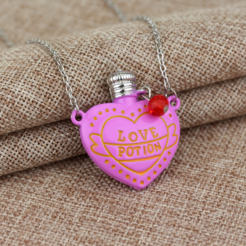 2 Colour Love Potion Heart Bottle Necklace Accessories Creative Little Girls Jewelry Lovers Pendant