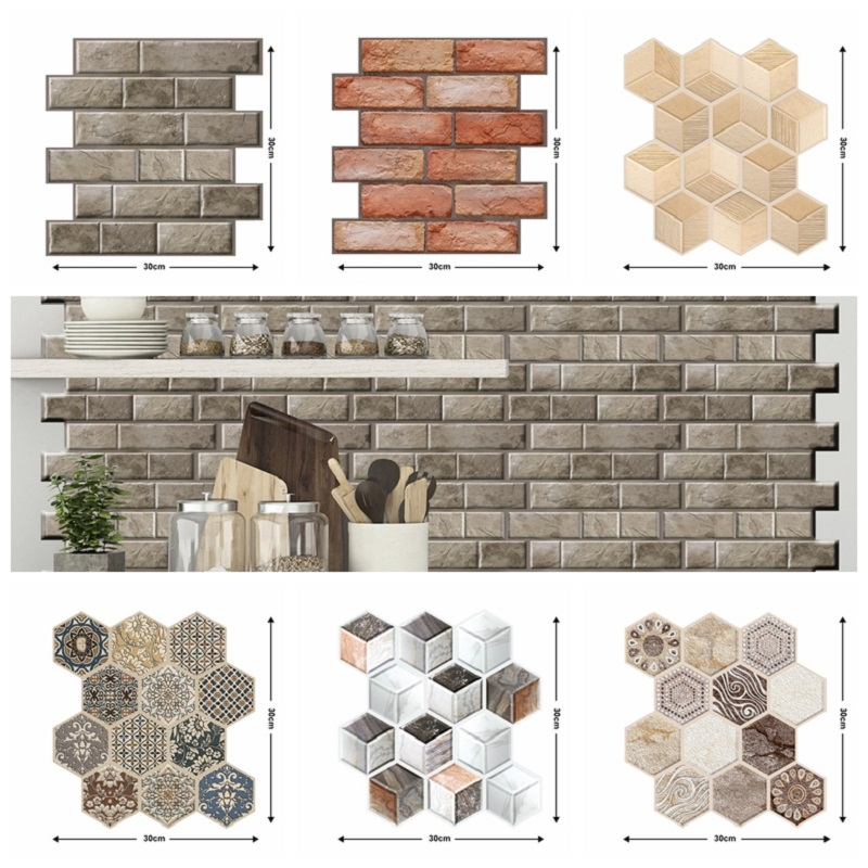 3D Brick Wall Sticker Bedroom Kitchen Bathroom Self Adhesive Wallpaper Tile Home Decor