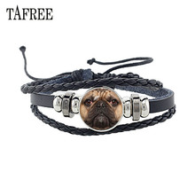 TAFREE Fashion Animal Dog Leather Bracelet Handmade Glass Cabochon Pomeranian Poodle Sheepdog Jewelry CN76