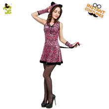 hot deal buy 2018 new pink leopard lady costume attached hooded women's sexy leopard for halloween party cosplay girl's fancy dress costumes