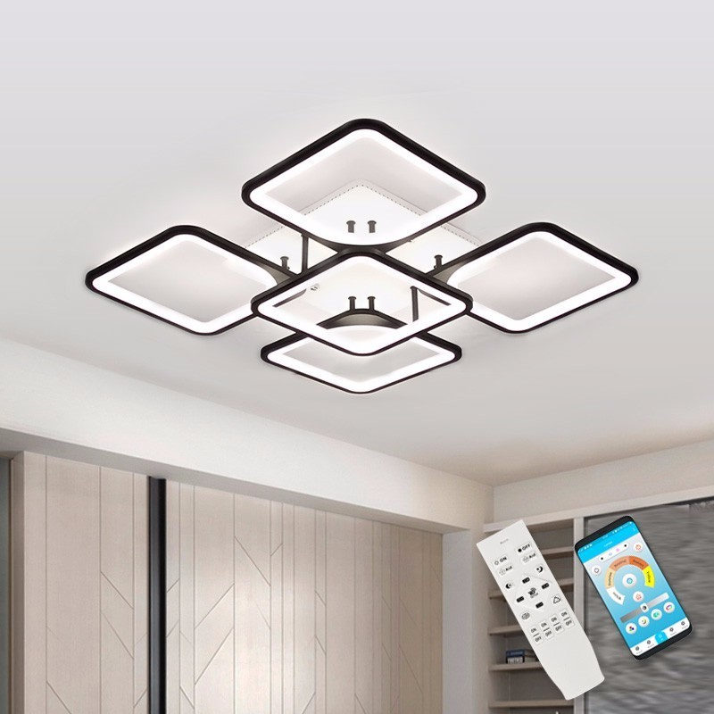 Modern LED Chandelier Lighting Fixture For Living Room Square Black Indoor Home Kitchen Lamp With Remote