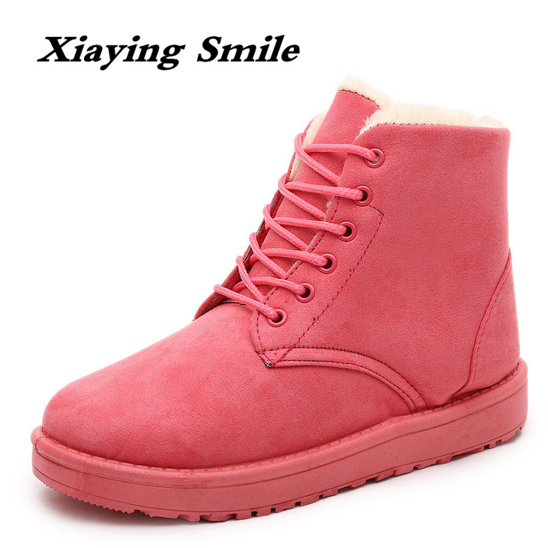 Xiaying Smile New Winter Style Women Boots Antieskid Ankle Boots Round Toe Lace Shoes Fashion Casual Warm Flock Rivet Boots xiaying smile winter women snow boots warm antieskid mid calf boots platform strap slip on flats casual women flock rubber shoes