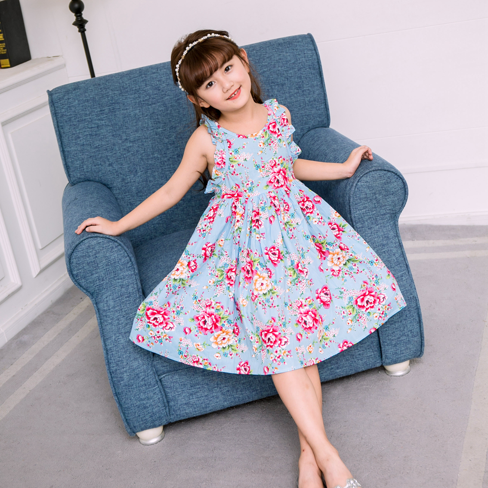 NEAT Summer Baby girl dress Beach style Floral Print Party princess dress backless Vintage Newborns Girl clothes 1-10 yrs SH611