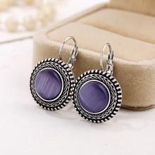 Retro ethnic big drop earring jewelry brinco opal dangle earrings vintage tibetan silver bohemian oorbellen hangers J45