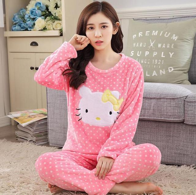 06aeeb9112 Winter flannel girls pajamas cute cartoon chinchillas thick warm long-sleeved  coral velvet home service suits