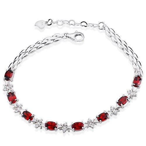 Bracelet grenat naturel 925 en argent Sterling femme Fine élégante gemme rouge bijoux fille pierre de naissance cadeau saint-valentin sb0001g