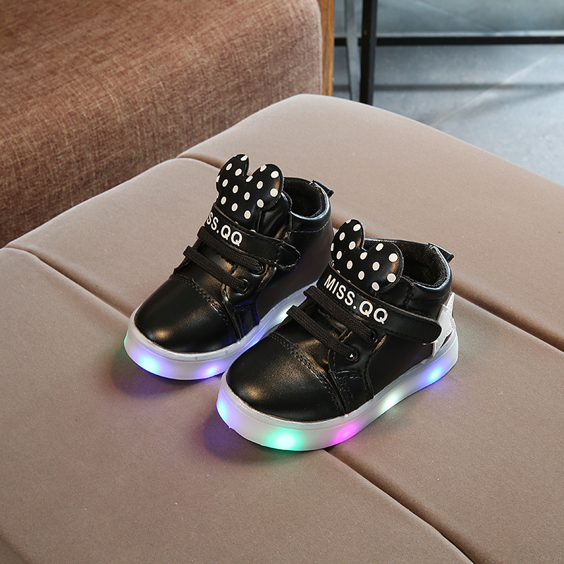 New Baby Boys Girls Luminous Sports Shoes Fashion LED Lumineus Sneakers Children Cartoon Non-slip Shoes Kids Casual Shoes