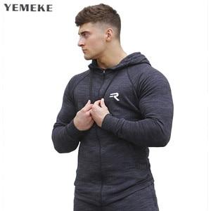 Image 1 - YEMEKE の男性のサメパーカーシングレットスウェットメンズパーカーストリンガーボディービルフィットネス男性のパーカーシャツパーカー