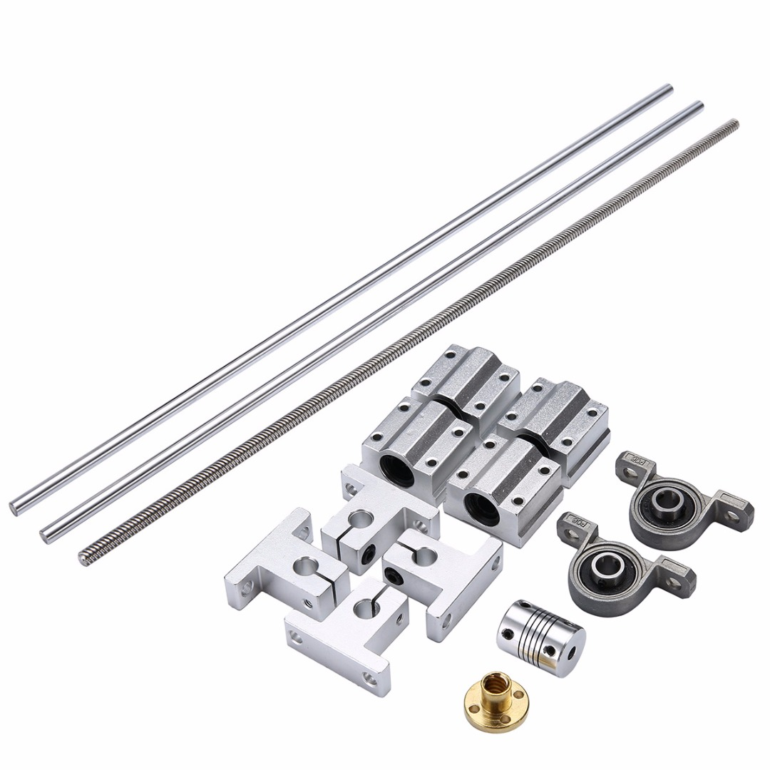 1Set L500mm Lead Screw + Linear Guide Rail Shaft + Screw Nut + Mounted Ball Bearing + Shaft Coupling with Linear Slide Block t8 600mm stainless steel lead screw set with mounted ball bearing and shaft coupling