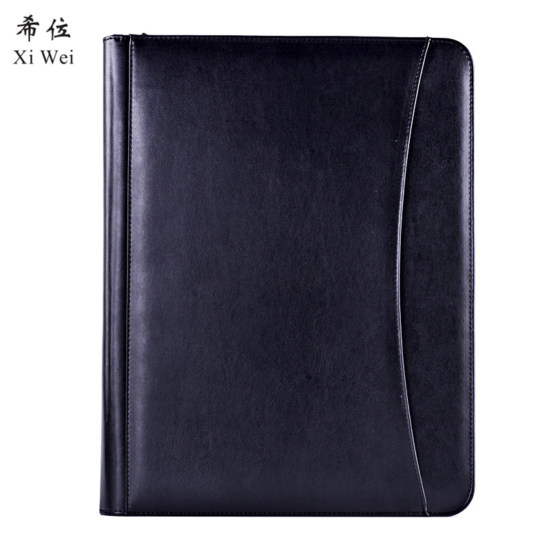 Pu Leather Portfolio Zipper File Folder Bag Notepad Multi-function Cardholder Bag Document Organizer Clip clipboard folder portfolio multi function leather organizer study office manager clip writing pads legal paper contract