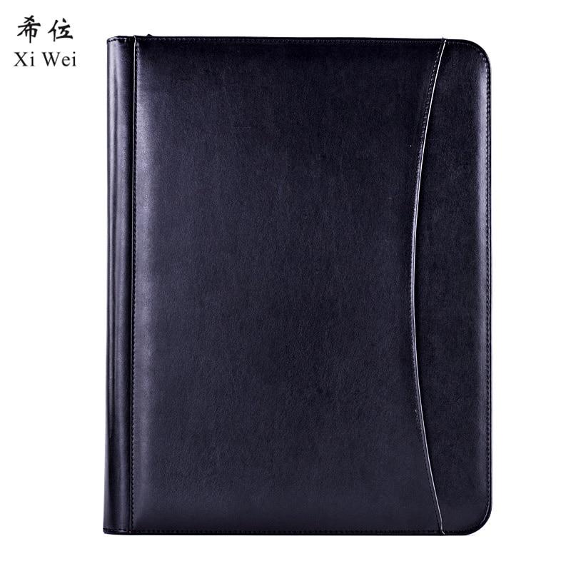 Pu Leather Portfolio Zipper File Folder Bag Notepad Multi-function Cardholder Bag Document Organizer Clip