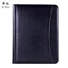 Pu Leather Portfolio Zipper File Folder Bag Notepad  Multi-function Cardholder Bag Document Organizer Clip цена