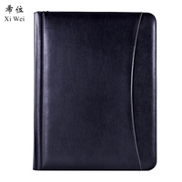 Pu Leather Portfolio Zipper File Folder Bag Notepad Multi function Cardholder Bag Document Organizer Clip