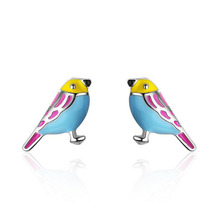 Women Fashion 925 Silver Colorful Drop Oil Cute Bird Stud Earring For Girl Female Simple Party Earring Sweet Gift Jewelry ED647 2019 new jewelry fashion wolf cute cat design party hook earring colorful round drop earrings accessories for women pretty gift