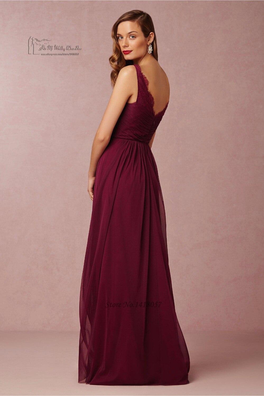 Bonito La Longitud Del Piso Vestidos De Dama De Color Púrpura Fotos ...