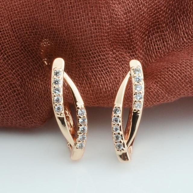 2 Style Hot kobiety 585 wzrosła złoty kolor Crysral Hollow kolczyki Drop kolczyki biżuteria