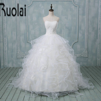 2017 Real Sample Gorgeous Ball Gown Wedding Dresses Pleat Sweetheart Appliques Ruffles Wedding Gown Backless Custom