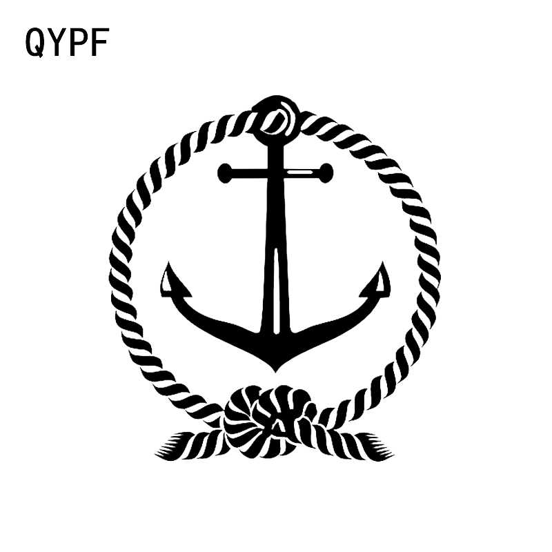 QYPF 12.8*14.2CM Interesting Anchor and Rope Circle Car Window Decal Sailing Nautical Boat Vinyl Sticker C16-1025