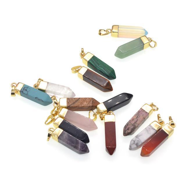 1pc natural stone bullet pendant necklace tiger eye rose quartzs 1pc natural stone bullet pendant necklace tiger eye rose quartzs crystal onyx pendants necklace chakra charms aloadofball Image collections