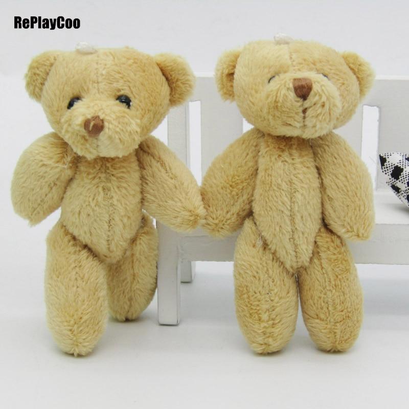 100PCS/LOTMini Teddy Bear Stuffed Plush Toys 8cm Small Bear Stuffed Toys Brown Pelucia Pendant Kids Birthday Gift Party Decor 02