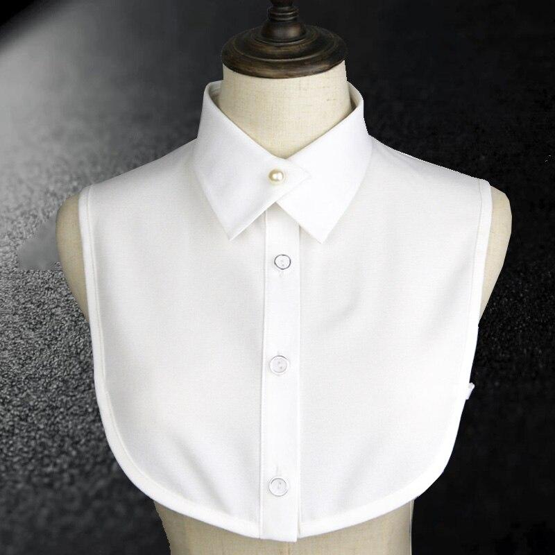 Elegant Women False Collar Shirt 2018 New Vintage Pearl Chiffon Female Fake Kragen Ladies Fake Collar Women Detachable Collars