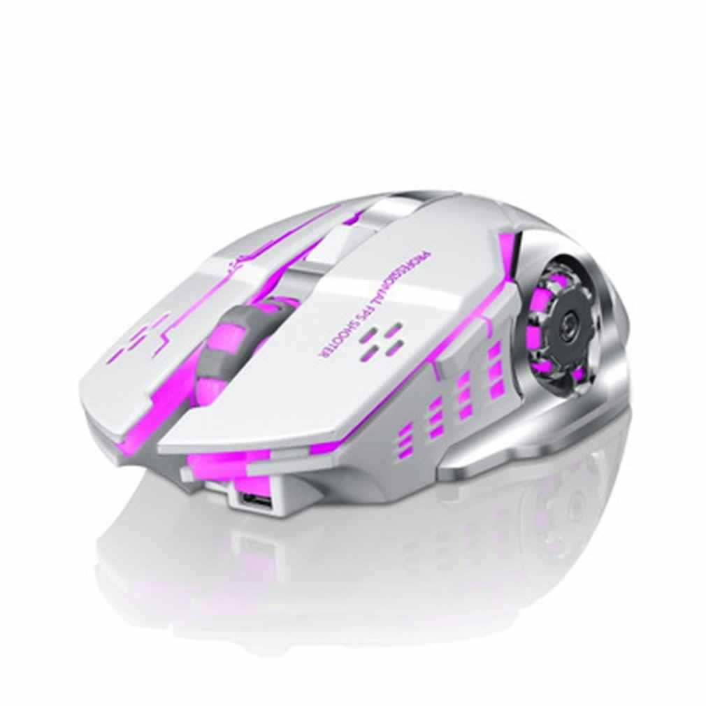 Q13 Rechargeable Wireless Mouse Silent Ergonomis Gaming Mouse 6 Tombol RGB Backlight 2400 Dpi untuk Komputer Laptop Pro Gamer