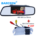 New car rear view camera bring 8 led lights original use for  Kia K2 Rio Hatchback with wire car rear mirror monitor 4.3""