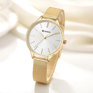 Image 2 - CURREN נשים שעוני יוקרה שעון יד relogio feminino שעון לנשים ממילאנו פלדה ליידי רוז זהב קוורץ גבירותיי שעון חדש