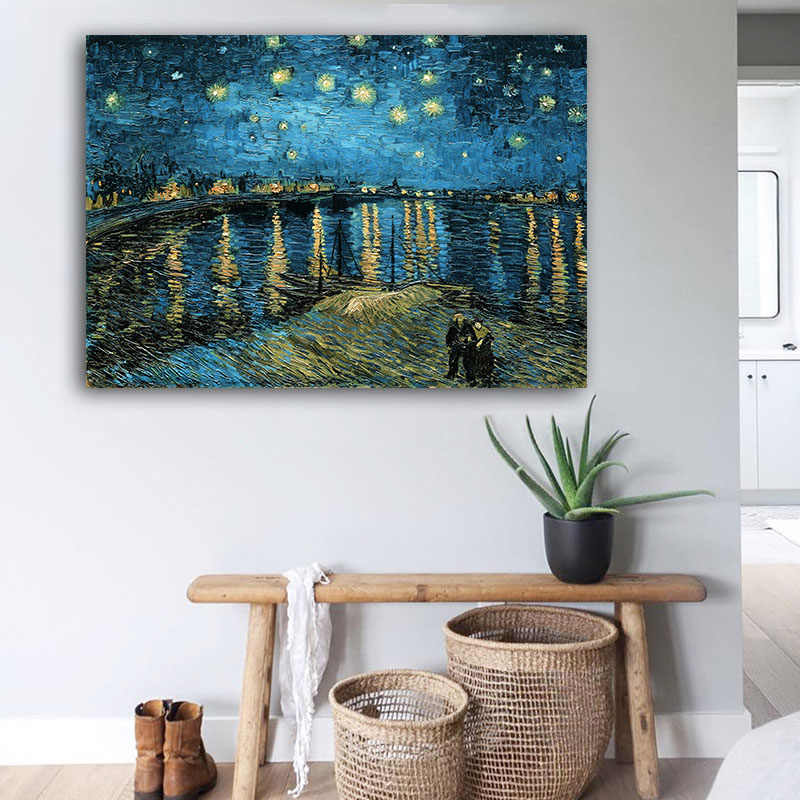 Van Gogh starry Night Over the Rhone Abstract Canvas Poster Apricot Flower Classic Wall Art Print Modern Decoration Picture