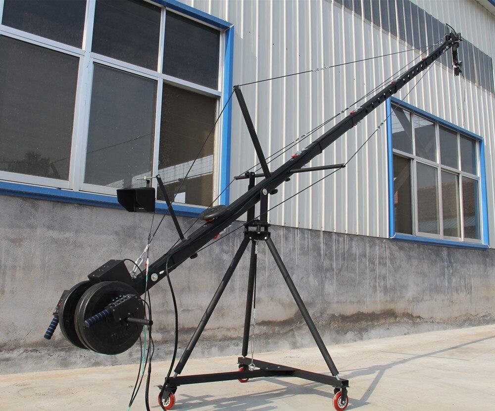 Grue à flèche 10 m 2 axes octogonale tête inclinable caméra portable grue dslr avec dolly et moniteur approvisionnement d'usine