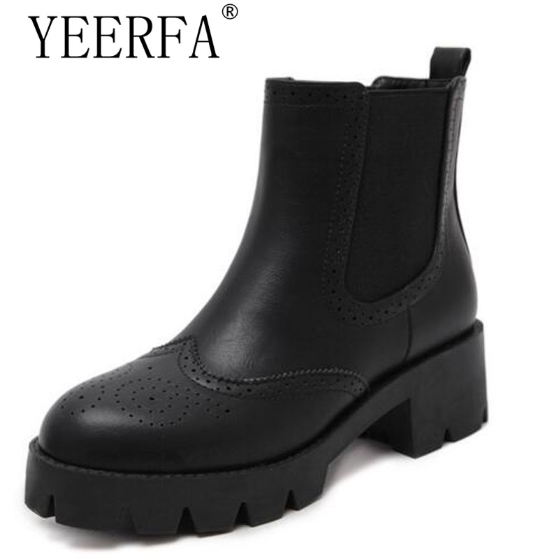 YEERFA 2017 New Autumn winter Women Boots Fashion Chelsea Boots Split Leather Fur Boots Size Womens Shoes size 35-39