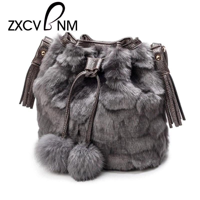 ZXCVBNM 2017 New Vintage Faux Rabbit Fur Women Bag Women Messenger Bags Shoulder Bucket Bag Winter Soft Lady Designer Bag WH599 цена 2017
