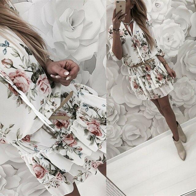 Винтажное женское летнее платье с запахом, V-образным вырезом, цветочным принтом в стиле бохо, элегантный женский праздничный пляжный мини-сарафан 3