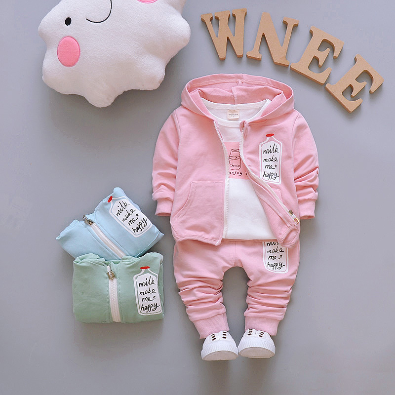 Children Clothing Newborn Baby Girls Clothes Set Long Infant Hoodie Tops Cotton Striped Pants Outfit Bebe Clothing Set Tracksuit pink newborn infant baby girls clothes short sleeve bodysuit striped leg warmers headband 3pcs outfit bebek clothing set 0 18m