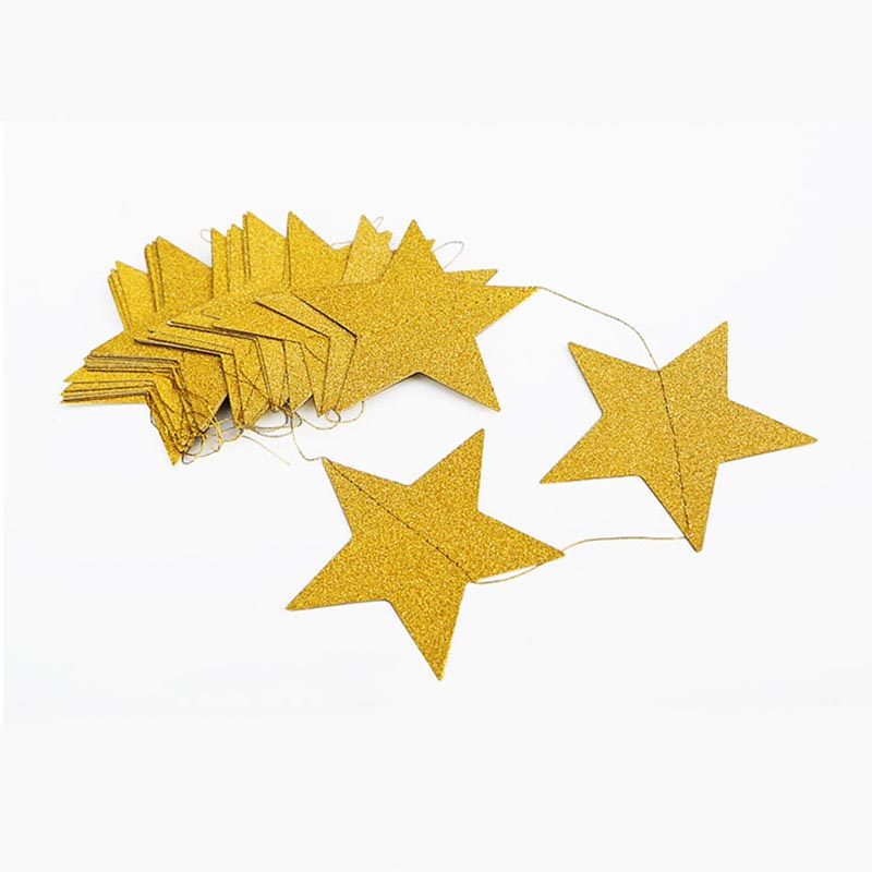 4 Meters Glitter Gold Silver Stars Paper Garland for Wedding Birthday Party Decoration Backdrop Photo Prop Christmas Tree Decor-3