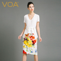 VOA тяжелый шелк Карандаш платья Для женщин белый печатных офисные женские миди платье Sexy Глубокий V шеи одежда короткий рукав пояс a6713