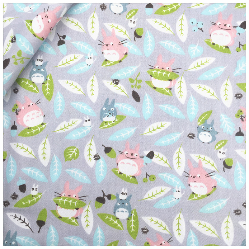100 cotton fabric gray totoro home textile patchwork for Grey childrens fabric