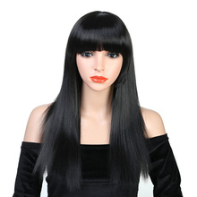 Pageup 26 inch Long Straight Black Wig Hairstyles Heat Resistant Synthetic Wigs For African American Women Female