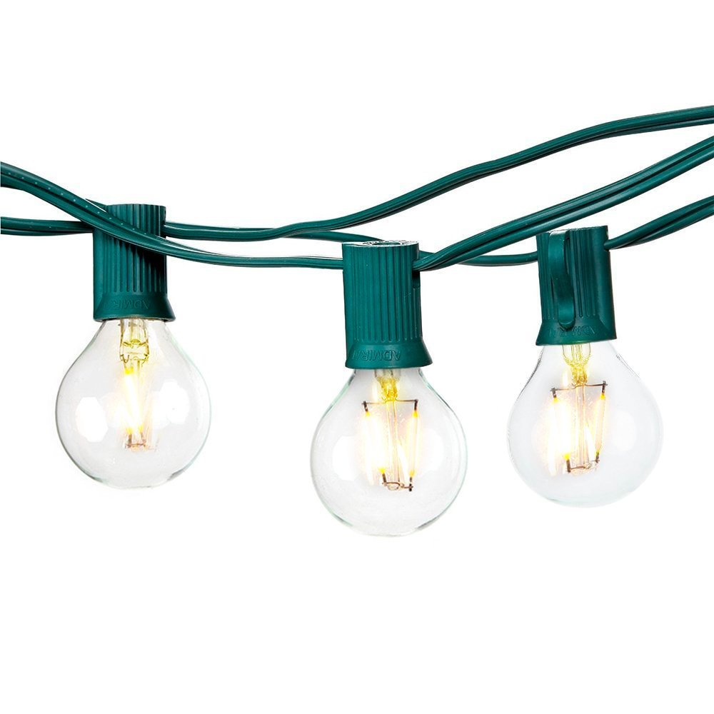 ФОТО G40 Led String Light for Summer Parties Warm White Dancing String Lights with 25 bulbs 7.62meters Black/White/Green Cafe Light