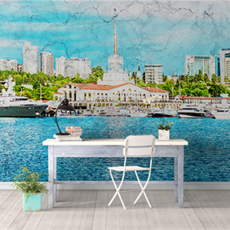 Custom European Style Murals 3D Nature Wallpapers Modern Landscape Blue Sky Painting Wal ...