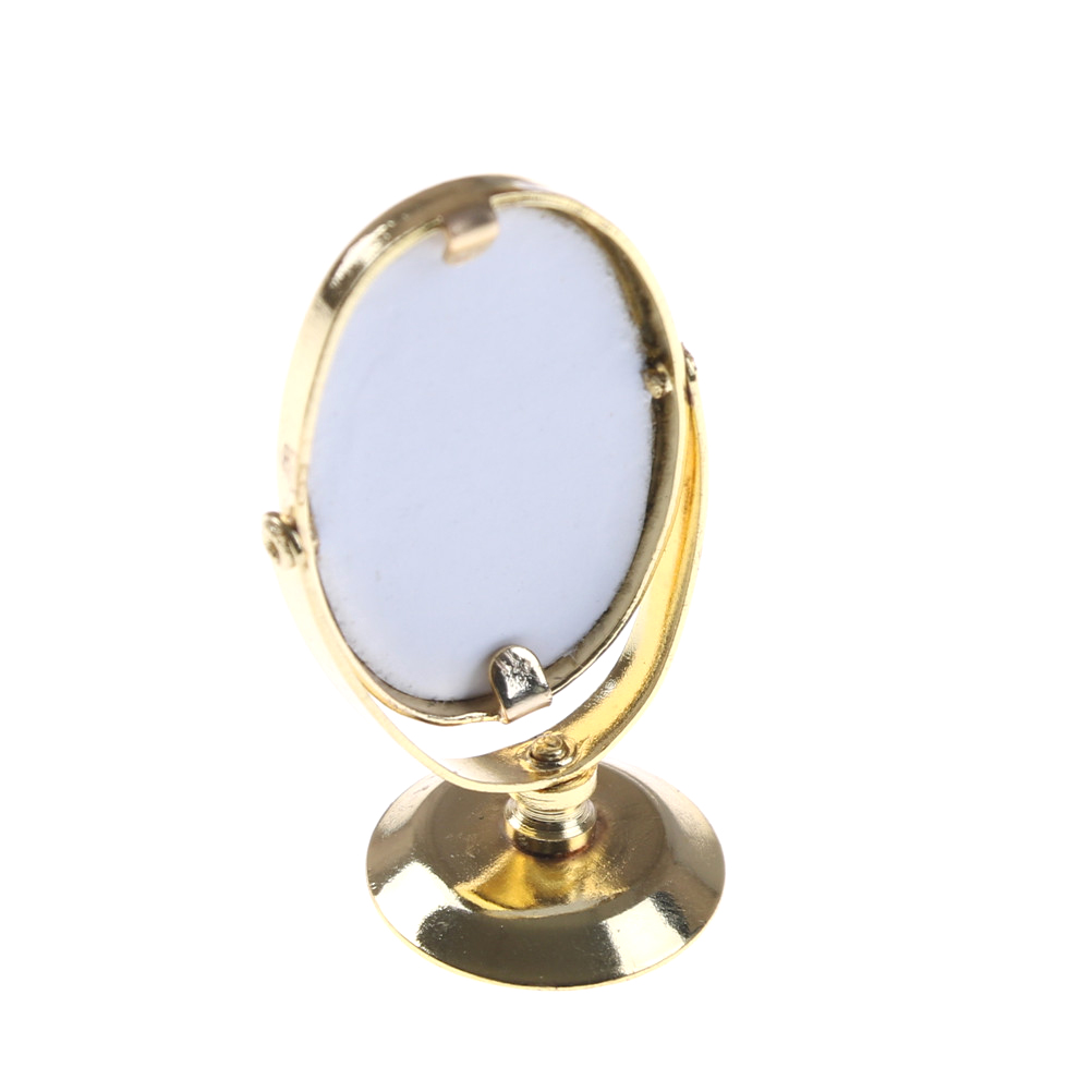 1/12 Metal Dollhouse Miniature Dressing Table Mirror Gold Tone Pretend Play Furniture Ch ...