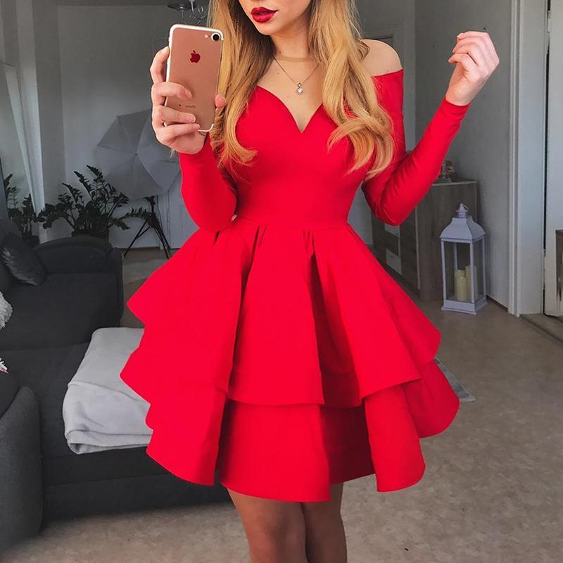 2019 Women Elegant Stylish Fashion Holiday Strapless Cocktail Mini Dress Off Shoulder Layered Ruffles Red Party Dress
