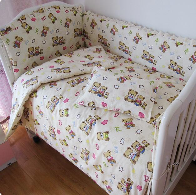 Promotion! 9PCS Full Set Crib Bedding Sets,Newborn Baby Bed Set,Bumper and Sheet,Cot Bedding,4bumper/sheet/pillow/duvet promotion 5pcs comfortable baby bedding sets infant bedding set baby crib sheet 4bumper sheet