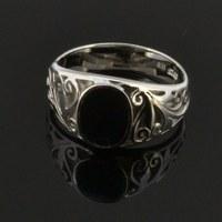 black stone ring for men/black enamel rings