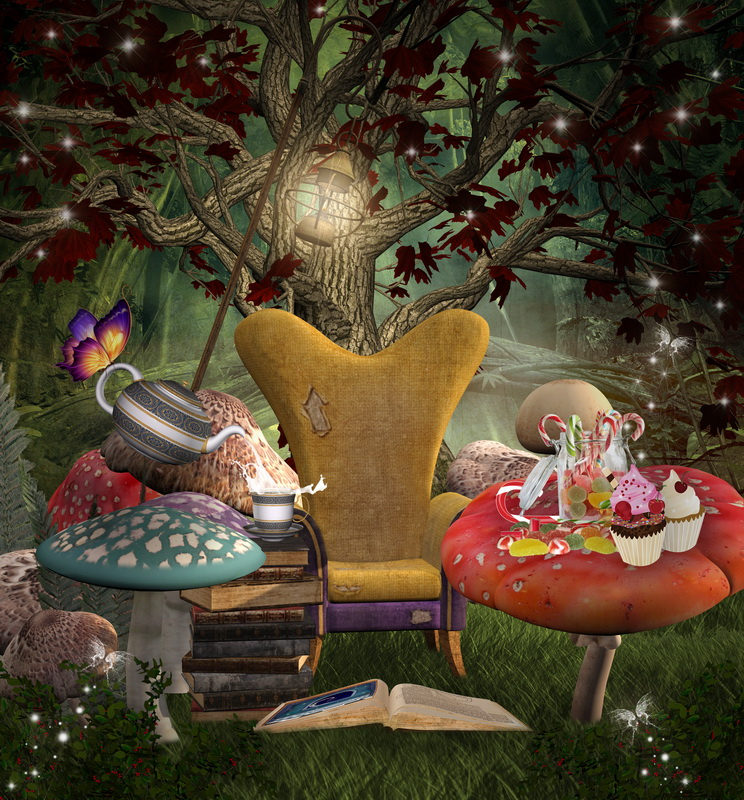 Vinyl Photography Background Computed Printed Fairy Tale Dreamland Tree Candy Cake Children Backdrops for Photo Studio F-3114